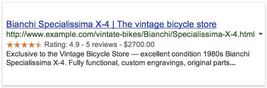 此图显示了一条因具有评价星级(通过使用结构化数据实现)而显得比较醒目的搜索结果。