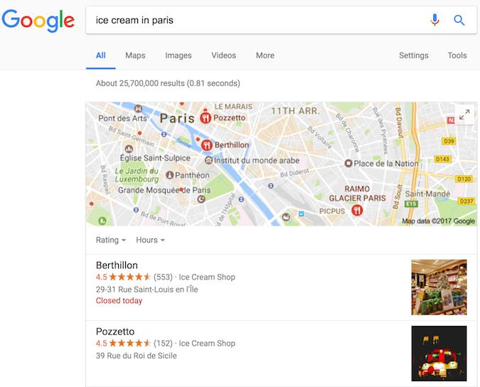 与冰淇淋店相关的 Google 搜索结果,显示了由结构化数据实现的富媒体搜索结果。
